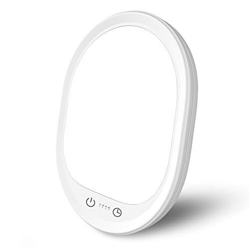 Tageslichtlampe 10000 Lux Lichttherapielampe gegen Depressionen, Lichttherapie lampe mit 3 Stufenhelligkeit und 4 Timer-Einstellungen, Touch-Steuerung, UV-freie LED Sonnenlicht mit variablem Standfuß