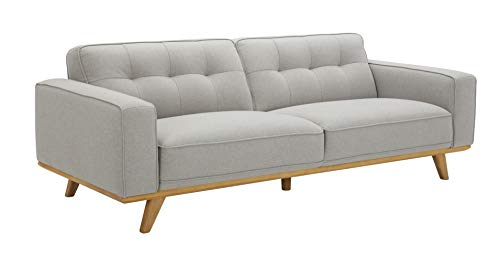 """Amazon Brand – Rivet Bigelow Modern Sofa Couch with Wood Base, 89.4""""W, Light Grey / Blonde"""