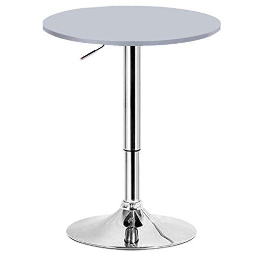 WOLTU BT02sb Bartisch Bistrotisch, Design Tisch mit Trompetenfuß, drehbare Tischplatte aus robustem MDF, höhenverstellbar Gartentisch, Dekor, Silber