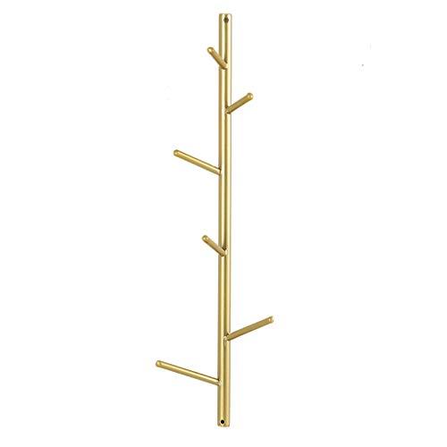 EIVD Kleiderhaken aus Metall, Wandgarderobe Creative Porch Wall, Schlüsselrahmen for dekorative Türveranda, Kleiderständer mit Mehreren Taschen for das Wohnzimmer - Gold (Size : S)