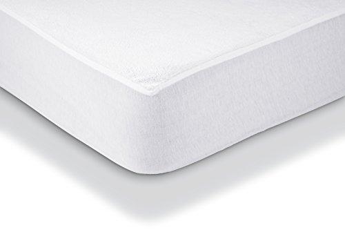 Amazon Basics - Protezione impermeabile per materasso, in spugna Asciugamani 90 x 190 cm bianco