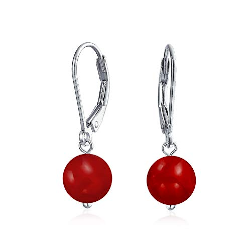 Simple Plain Gemstone Dyed Red Natural Coral Ball Round Drop Dangle Earrings For Women Teen 925 Sterling Silver