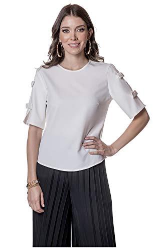 Devendi Blusa Dama Blanco con Moño En Mangas EG