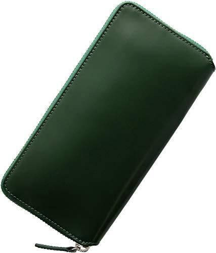 [三京商会] PRAIRIEプレリー 日本製 コードバン ラウンドファスナー 長財布 メンズ スリム 薄型 : グリーン