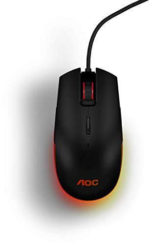 AOC Gaming RGB Gaming Mouse, OMRON (L&R) Switches, 5000 DPI, Customizable Buttons and On-The-Fly DPI Change, Light FX RGB, AOC G-Tools Software (GM500)