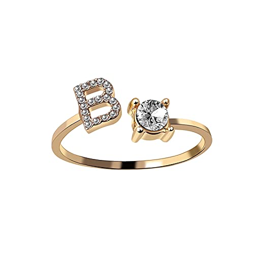 Una letra, color dorado, Metal, anillo de apertura ajustable, iniciales, alfabeto, anillos de dedo creativos para mujer, joyería de fiesta de moda