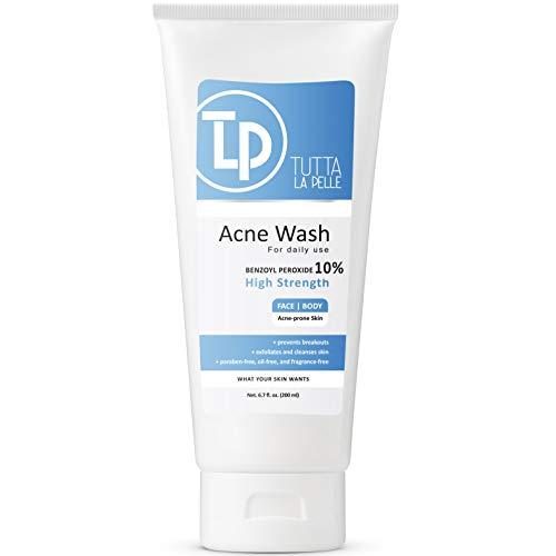 Benzoyl Peroxide Body Wash 10% - Acne Face Wash & Acne Body Wash - Butt Acne Treatment & Back Acne Treatment - Highest Grade Medical Facial Cleanser, Maximum Strength Acne Wash 6.7 oz
