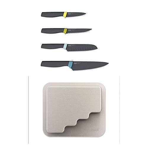 Joseph Joseph 10303 DoorStore 4 Pezzi Elevate Set di coltelli con portacoltelli per dispensa, Opal