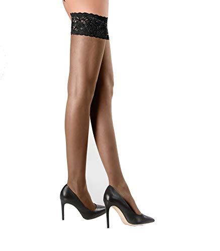 WOOTI TIGHTS Autoreggente setificato 20 den POMODORO, M NERO, calza velata, sexy, elegante, morbida, come se fosse una seconda pelle, balza alta 8 cm