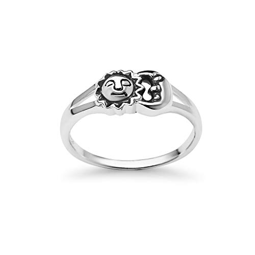 925 Sterling Silver Sun Moon Universe Ring | Boho Chic Spiritual Jewelry | Size 10