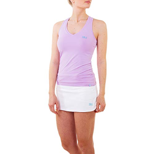 Sportkind Mädchen & Damen Tennis, Fitness, Sport V-Neck Tank Top Racerback, atmungsaktiv, UV-Schutz UPF 50+, Flieder, Gr. 152
