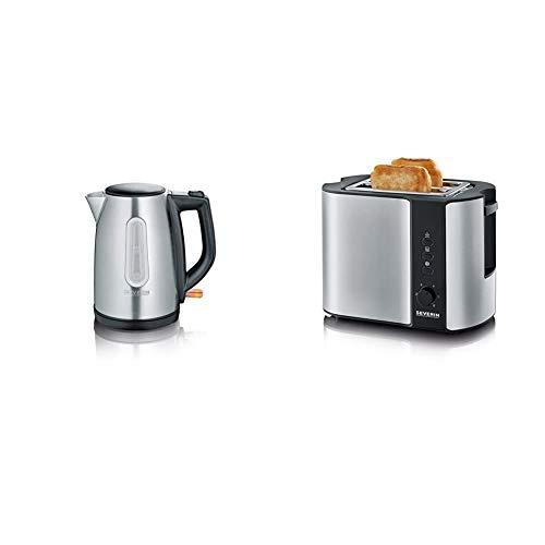 SEVERIN WK 3469 Wasserkocher (ca. 2.200 W, 1 L) edelstahl/schwarz & Automatik-Toaster, Inkl. Brötchen-Röstaufsatz, 2 Röstkammern, 800 W, AT 2589, Edelstahl/Schwarz