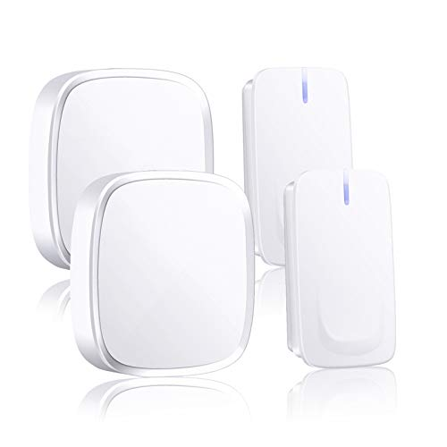 Wireless Doorbell, IP44 Remote Door Bells,58 Chimes, 4-Level Volume, 2 Push Button and 2 Plug-in Receivers, Best for Home/Hospital/Office
