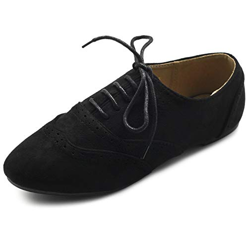 Ollio Women's Shoes Faux Suede Classic Wingtips Lace Up Oxfords F115 (9 B(M) US, Black)