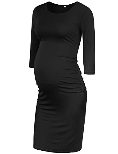 GLAMIX Women's Maternity Bodycon Dress 3/4 Sleeve Ruched Sides Casual Dress Pregnancy Clothes (A05 Black, M)