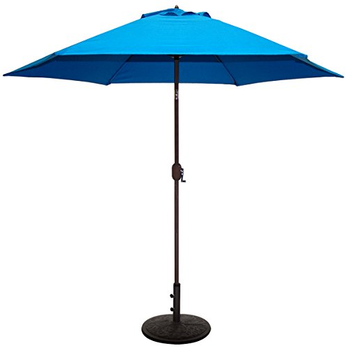 TropiShade 9 ft Patio Umbrella Bronze Aluminum Frame with Royal Blue Polyester Cover (Base not included)