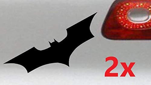 LEON-FOLIEN 2 Aufkleber Batman 18x6 cm Fledermaus Autoaufkleber Sticker Autotattoo Wandtattoo Tattoo Tuning Glanz Folie in Schwarz - 2 Stück