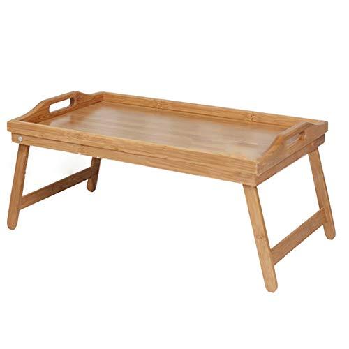KEKOR Mesa plegable, portátil de bambú de madera para cama de desayuno, portátil, mesa de té, mesa de desayuno, bandeja plegable portátil, tamaño 50 x 30 x 24 cm escritorio (tamaño: 50 x 30 x 24)