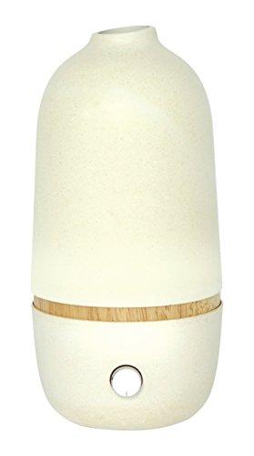 Diffuseur d'Huiles Essentielles par Nébulisation Bambou/Verre Blanc 10 x 10 x 20,5 cm