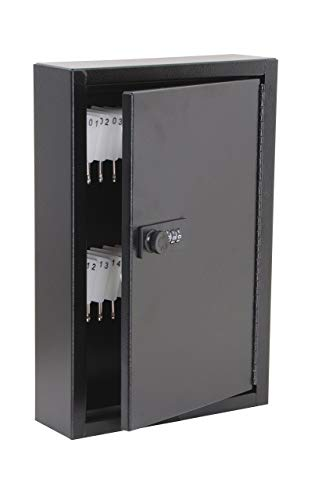 AdirOffice Secured 40 Key Cabinet with Combination Lock - Holds 40 Keys (Black)