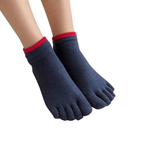 jieGorge Women Five Toe Cotton Socks Pure Sports Trainer Running Finger Socks Breathable , Socks , Clothing Shoes & Accessories Sales (Dark Blue)
