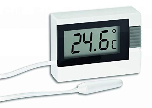 TFA Dostmann Digitales Thermometer, inkl wasserdichter Kabelfühler, klein, weiß