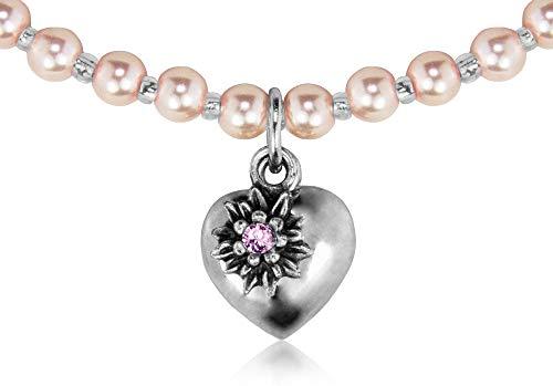 LUISIA® Kinder Perlenkette Luna mit Herz, Edelweiß und Kristallen von Swarovski® - Rosa - Mädchen Schmuck Halskette zu Dirndl und Trachten