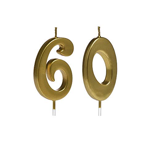 Gold 60th Birthday Candles,Number 60 Cake Topper for Party Decoration
