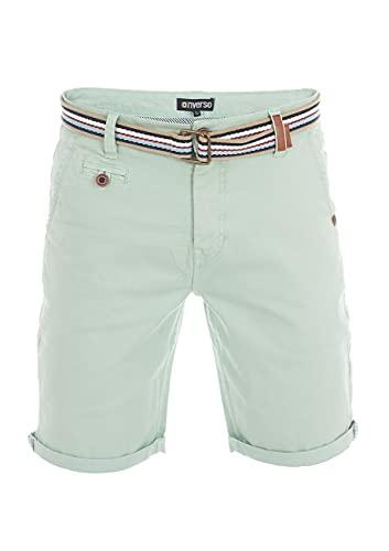 riverso Herren Chino Shorts RIVKlaas Regular Fit Gürtel Bermuda Kurze Hose Sommer Short 98% Baumwolle Grün w34, Größe:W 34, Farbe:Middle Green (12300)