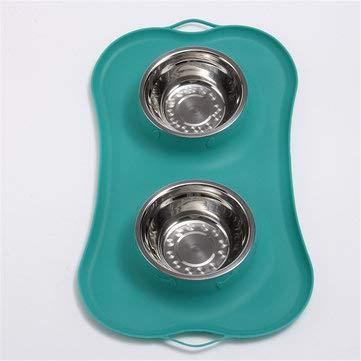 MASUNN Invix Steel Dog Cat Bowl Non Spill Silicone Mat Water Food Feeder - Verde