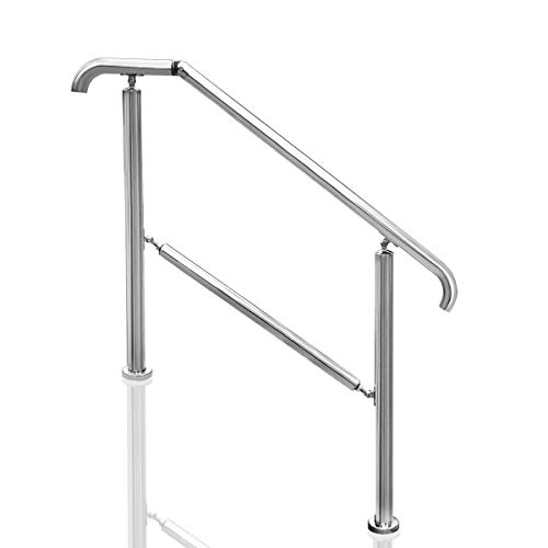 Transitional Handrail Stainless Steel Fits Level Surface and 1to 5 Steps Stair Railing with Installation Accessories Porch Hand Rails for Outdoor Indoor (Style 1)