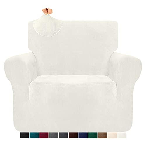 Granbest 1-teilige luxuriöse superweiche Plüsch-Couchbezug für Sessel Samtstuhlbezug hohe Stretch Sofabezug Möbelschutz für Wohnzimmer Anti-Rutsch-Sesselbezug (1 Sitzer,Creme)