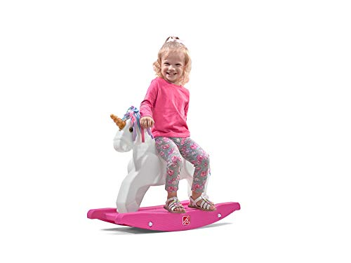 Step2 Unicorn Rocking Horse | Toddler Unicorn Ride On Toy | Pink & White