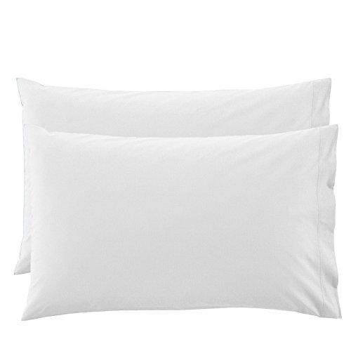 Bassetti Time - Juego de 2 fundas de almohada de color liso, 100% puro algodón, 50 x 80 cm, color blanco - 1000