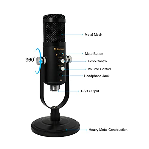 BigPassport USB Condenser Microphone | Heavy Metal Professional Studio Cardioid Microphone with Pop Filter & Mobile Connector | Mic for Broadcasting, Recording, YouTube, Gaming, live Streaming (Pro-Sound_MU07)