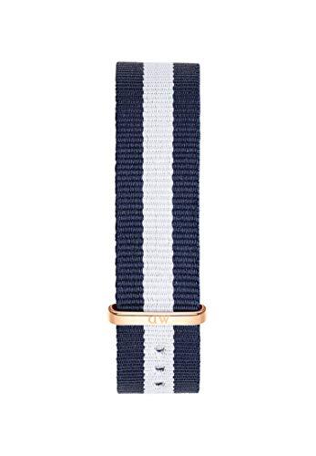 Daniel Wellington Classic Glasgow, Blau-weiß/Roségold Uhrenarmband, 18mm, NATO, für Damen und Herren