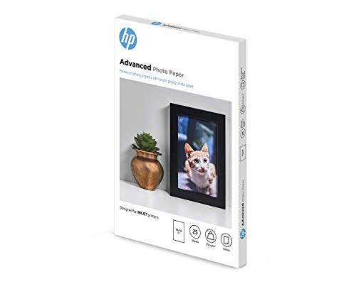 HP Advanced Glossy Photo Paper Q8691A Carta Fotografica Lucida Originale HP, Compatibile con Stampanti a Getto di Inchiostro, 10 x 15 cm, Grammatura 250 g/m², Confezione da 25 Fogli, Bianco