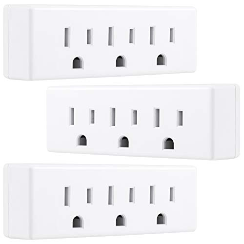 GE UltraPro 3-Outlet Grounded Adapter Wall Tap Plug, 3 Pack, Indoor Rated, 3 Prong, White, 47884, Count