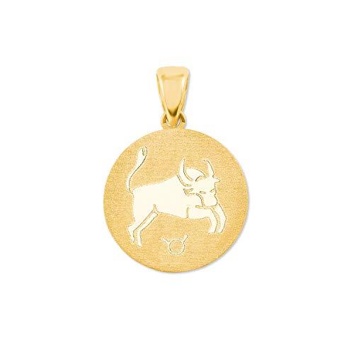 amor Anhänger Unisex Sternzeichen Stier rund 375 Gold teilmattiert