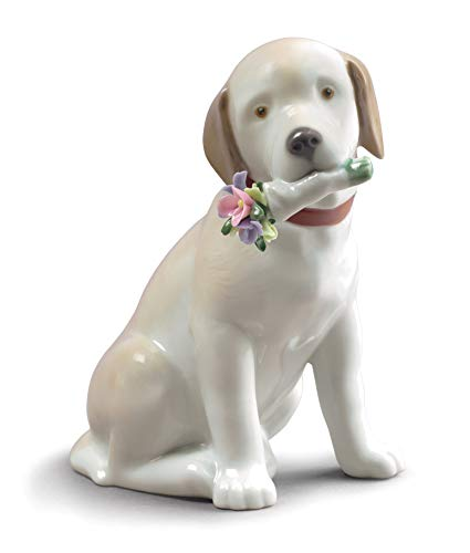 LLADRÓ This Bouquet is for You Dog Figurine. Porcelain Dog Figure.