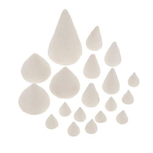 Glorex 6 3804 150 - Watte Kreativpackung in Form von Kegeln, 40 Stück in verschiedenen Größen, ideal als Nähbedarf, Füllmaterial oder zum Basteln