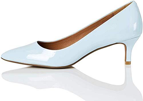 Amazon-Marke: find. Connie-s2c1-court Damen Pumps, Blau (Pale Blue), 39 EU