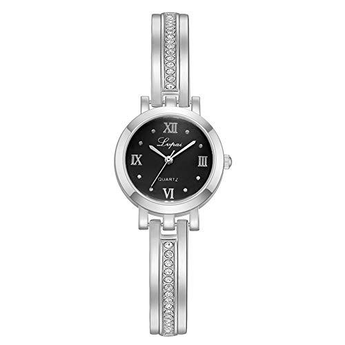 FENGZI 2021 Lady Exquisite Alloy Watch Dial Redondo Pantalla Analógica Reloj De Pulsera De Cuarzo Plata, Regalos para Mujer