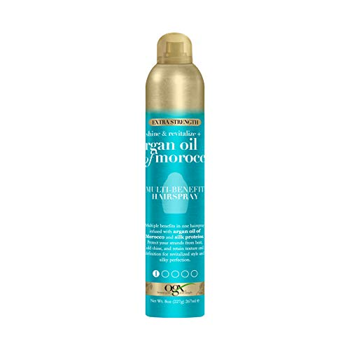 OGX Revitalize + Argan Shine Extra Strength Multi-Benefit Heat Protection Hairspray with Argan Oil & Silk Proteins, Tame Frizz & Non-Greasy Shine, Morocco, 8 Ounce