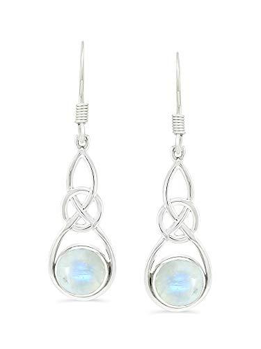 Natural Moonstone Earrings Jewelry For Women Mom Girlfriend Wife 925 Sterling Silver Celtic Knot Dangle style Earrings