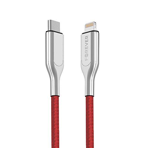 FOREVER Cable USB C a Lightning de 150 cm de largo, certificado Apple MFi, compatible con iPhone 11/Pro/11X/XS/XR/XS Max 8/8 Plus, para cargador tipo C Power Delivery (rojo)