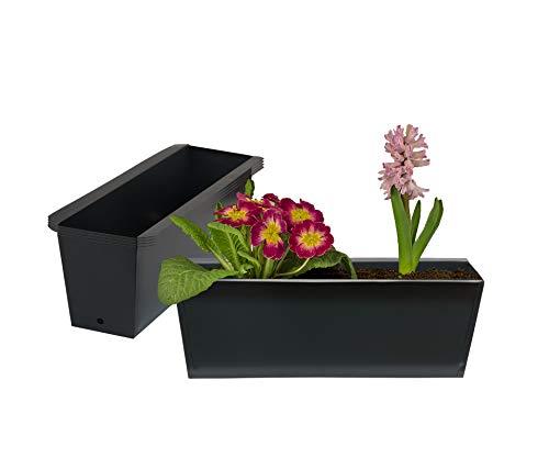 BigDean 4X Pflanzkasten Palette Anthrazit Paletten Blumenkasten Pflanzkübel 35,5 x 12,5 x 12 cm Palettenkasten