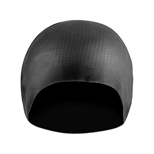 Alomejor Gorro de baño Gorro de Silicona Elástico de Alta impermeabilidad Gorro de baño Hombre Hembra(Black)
