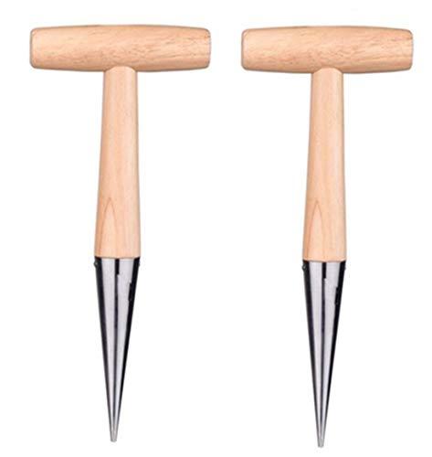 XKONG Dibber, Punch Dibber, Düngender Sämaschine, Sämling aus Edelstahl Dibber Gartenlocher Puncher Bodenpuncher Sämlingswerkzeuge für Gartenpflanzsamen (2 STK.)