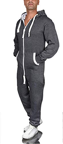 A. Salvarini Herren Jumpsuit Overall Jogging Anzug Trainingsanzug Jogger Sportanzug AS-039 (Gr. XL, Grau - Meliert)